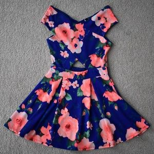 Windsor Royal Blue Floral Off The Shoulder Dress